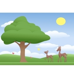 Deers on a meadow vector