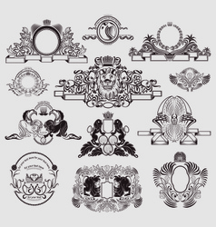 Vintage set of engraving elements vector