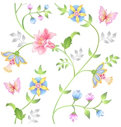 Decor floral elements seamless set vector