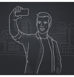 Man making selfie vector