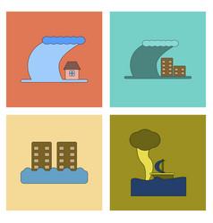 Assembly flat icons nature disaster tsunami vector