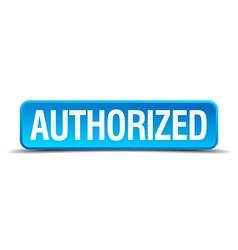 Authorized blue 3d realistic square isolated vector