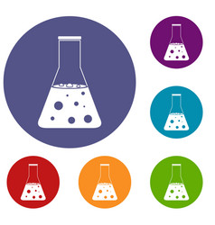 Chemical flask icons set vector