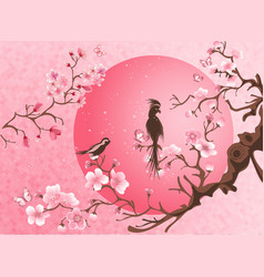 Cherry blossom tree with two bird vector