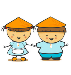 Chinese children boy girl vector