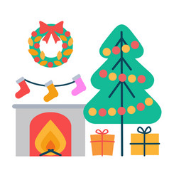 christmas decoration icons vector image