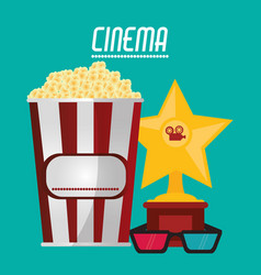 Cinema pop corn 3d glasses and trophy vector