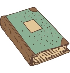 Closed book or antique ledger with turquoise cover vector