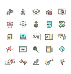 color linear set of e-learning and education on vector image vector image