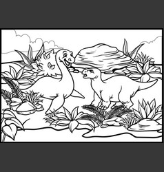 coloring page of two cartoon of dinosaurs vector image vector image