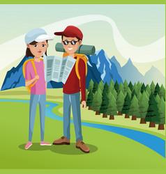 Couple tourist hiking map river landscape vector