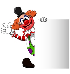 Cute clown cartoon with blank sign vector