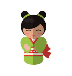 cute kokeshi doll traditional costume japanese vector image vector image