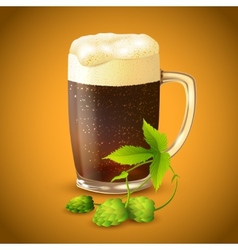 Dark beer and hop background vector