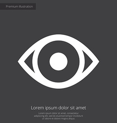 Eye premium icon white on dark background vector