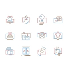 Flat color line icons for December holidays vector image