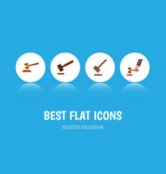 Flat icon court set of tribunal justice hammer vector