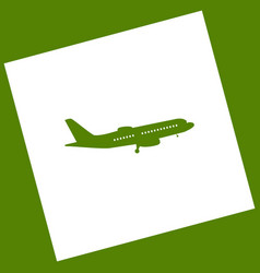 Flying plane sign side view white icon vector