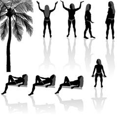 Girl silhouettes vector