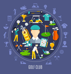 golf club round composition vector image vector image