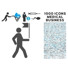 Guide Man With Flag Icon with 1000 Medical vector image vector image