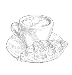 Hand drawn coffee cup and croissant vinage vector