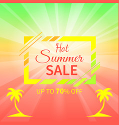 Hot summer sale up to 70 off promotional placard vector