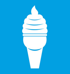 Ice cream in waffle cone icon white vector