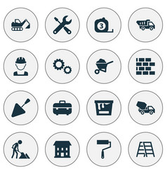 Industry icons set collection of cogwheel carry vector