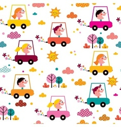 Kids driving toy cars pattern vector