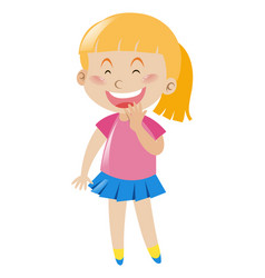 little girl in pink shirt and blue skirt smiles vector image