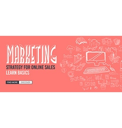 Marketing Strategy with Doodle design style vector image