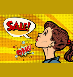 Omg sale woman pop art retro vector