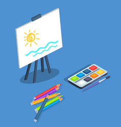 Picture on easel by watercolor paints with brush vector