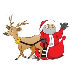santa claus waving from reindeer drawn cart vector image vector image