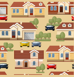 Seamless pattern of cars trees and houses vector