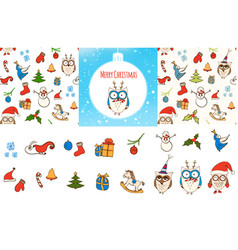 set of seamless christmas patterns card vector image vector image