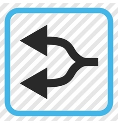 Split arrows left icon in a frame vector