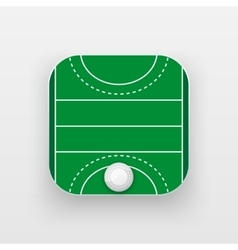 Square icon of hockey field on grass vector