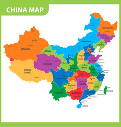The detailed map of the china with regions or vector