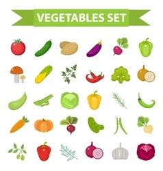 Vegetable icon set flat cartoon style Fresh vector image