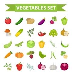 Vegetable icon set flat cartoon style fresh vector
