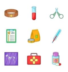 Veterinary equipment icons set cartoon style vector image vector image