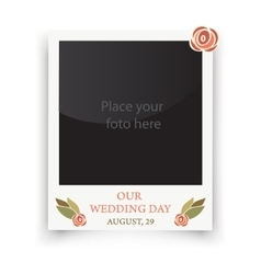 Vintage wedding frame template for photo of the vector