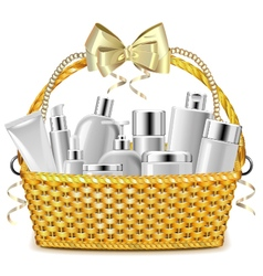 Wicker basket with cosmetics vector
