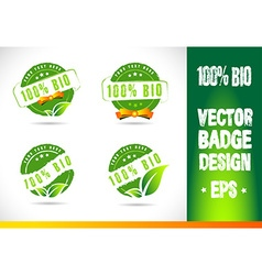 100 bio badge logo vector