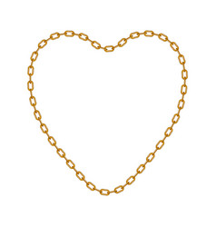 Gold chain in shape of heart vector