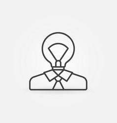 Man with light bulb head icon vector