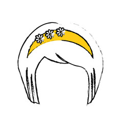 Japanese hairstyle traditional vector