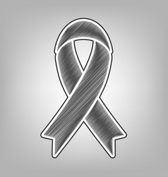 Black awareness ribbon sign pencil sketch vector